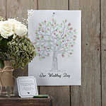 A Vintage Affair Wedding Fingerprint Tree Brown/Green