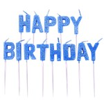 Blue Glitter Happy Birthday Pick Candle