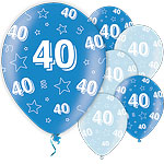 "40th Birthday Blue Balloons - 11"" Latex"