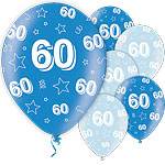 60th Birthday Blue Balloons - 11'' Latex