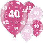 "40th Birthday Pink Balloons - 11"" Latex"
