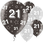 "21st Birthday Black Balloons 11"" Latex"