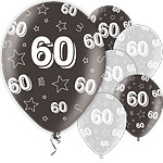 60th Birthday Black Balloons - 11'' Latex
