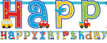 All Aboard 1st Birthday Letter Banner - 3m