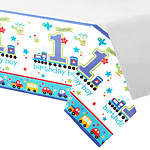 All Aboard 1st Birthday Plastic Tablecover - 2.5m