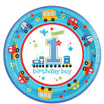 All Aboard 1st Birthday Plates - 23cm Paper Party Plates