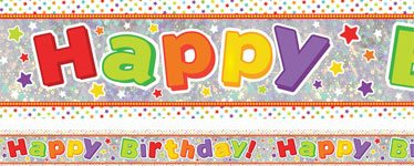 Holographic Happy Birthday Multi Coloured Foil Banner - 2.7m