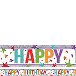 Holographic Happy Birthday Multi Coloured Birthday Banner - 2.7m