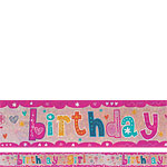 Holographic Birthday Girl Foil Banner - 2.7m
