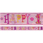 Holographic Happy 1st Birthday Girl Foil Banner - 2.7m