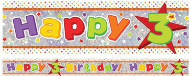 Holographic Happy 3rd Birthday Multi Coloured Foil Banner - 2.7m