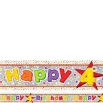 Holographic Happy 4th Birthday Multi Coloured Foil Banner - 2.7m