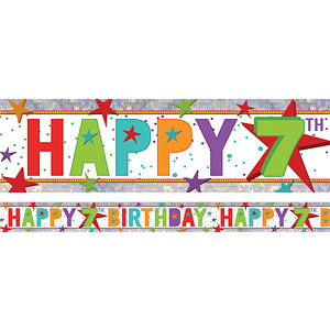 Holographic Happy 7th Birthday Multi Coloured Foil Banner ...