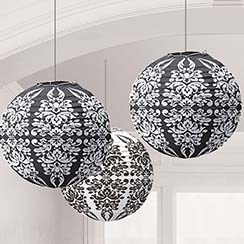 Black Damask Paper Lanterns - 24cm