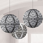 Black Damask Paper Lanterns -