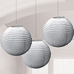 Silver Paper Lantern Decorations - 24cm