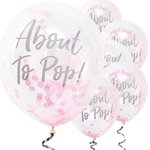 "Oh Baby 'About To Pop' Pink Confetti Balloons - 12"" Latex"