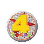 Happy 4th Birthday Badge - 5.5cm