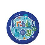 Happy Birthday Holographic Boy Badge - 5.5cm