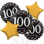 100th Birthday Gold Sparkling Celebration Balloon Bouquet - Assorted Foil 18""