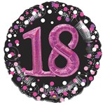 "18th Birthday Pink Sparkling Celebration 3D Multi- Balloon - 32"" Foil"