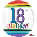 "18th Birthday Rainbow Balloon - 18"" Foil"