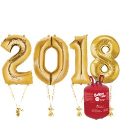 "2018 Gold Foil Balloon Kit With Helium - 34"" Foil"