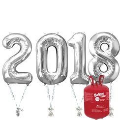 "2018 Silver Foil Balloon Kit With Helium - 34"" Foil"