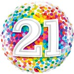 "21st Birthday Rainbow Confetti Balloon - 18"" Foil"