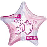 "Happy 30th Birthday Pink Star Balloon - 18"" Foil"