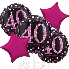 40th Birthday Pink Sparkling Celebration Balloon Bouquet - Assorted Foil 18""