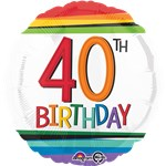 "40th Birthday Rainbow Balloon - 18"" Foil"