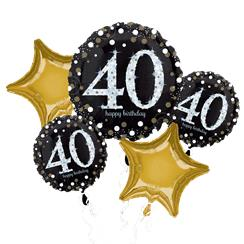 40th Birthday Sparkling Celebration Balloon Bouquet - Assorted Foil 28""