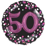 "50th Birthday Pink Sparkling Celebration 3D Multi- Balloon - 32"" Foil"