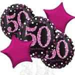 50th Birthday Pink Sparkling Celebration Balloon Bouquet - Assorted Foil 18""