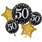 50th Birthday Sparkling Celebration Balloon Bouquet - Assorted Foil 28""