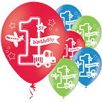 All Aboard 1st Birthday Balloons - 11'' Latex