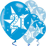 "21st Birthday Blue Balloons - 11"" Latex"