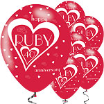 40th Ruby Wedding Anniversary Balloons - 11'' Latex