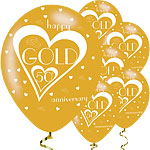 50th Gold Wedding Anniversary Balloons - 11'' Latex