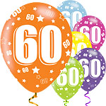 "60th Birthday Assorted Balloons - 11"" Latex"
