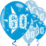 "60th Birthday Blue Balloons - 11"" Latex"