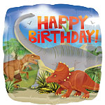 "Dinosaur Happy Birthday Square Balloon - 18"" Foil"