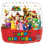 "Super Mario Happy Birthday Square Balloon - 18"" Foil"