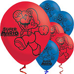 "Super Mario Red & Blue Balloons - 11"" Latex"