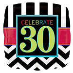"Chevron Stripes 30th Birthday Balloon - 18"" Foil"