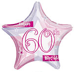 "Happy 60th Birthday Pink Star Balloon - 18"" Foil"