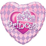 "Princess Tiara Heart Shaped Balloon - 18"" Foil"