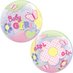 Baby Girl Butterflies Bubble Balloon - 22""
