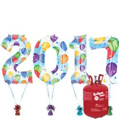 "2017 Printed Foil Number Kit With Helium - 34"" Foil Balloons"